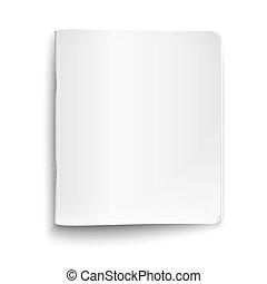 blanco, cerrado, copybook, blanco, fondo.