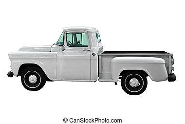 blanco, clásico, vendimia, automóvil