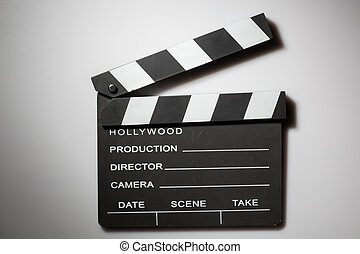 blanco, clapperboard, cine