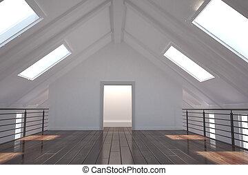 blanco, claraboyas, habitación