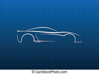 blanco, coche, logotipo, en, azul, textura