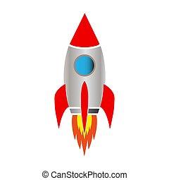 blanco, cohete, plano de fondo, espacio