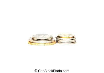 blanco, coins, aislado, plano de fondo, pila