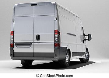 blanco, comercial, furgoneta