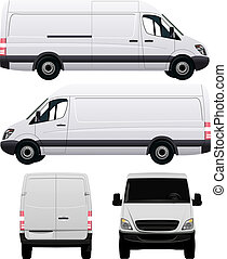 blanco, comercial, vehículo