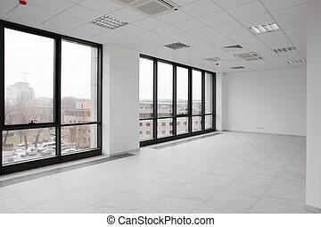 blanco, completamente nuevo, interior, de, oficina