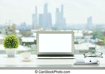 blanco, computador portatil, alféizar