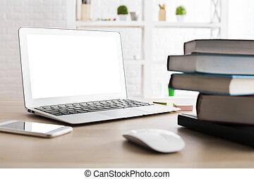 blanco, computador portatil, lado