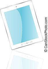 blanco, computadora personal tableta, con, reflexión