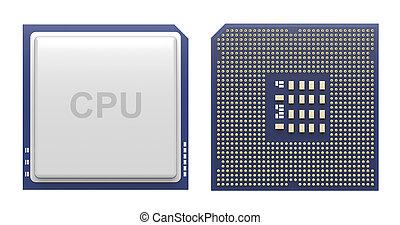 blanco, computadora, procesador, aislado