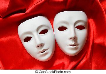 blanco, concepto, máscaras, teatro, plástico