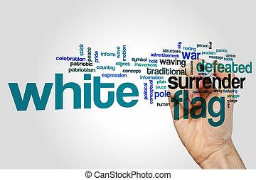 blanco, concepto, palabra, bandera, nube