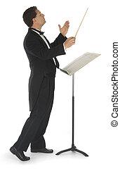 blanco, conductor orquesta