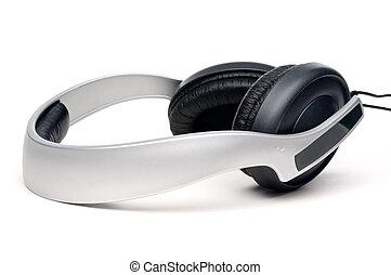 blanco, conjunto, auriculares