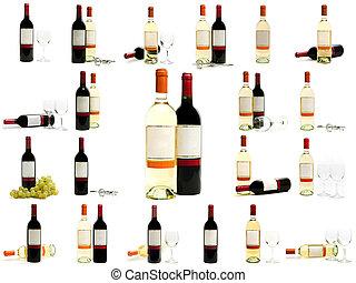 blanco, conjunto, botellas, vino rojo
