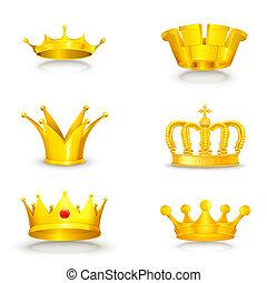 blanco, conjunto, corona