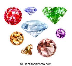 blanco, conjunto, diamantes