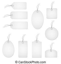 blanco, conjunto, hangtags
