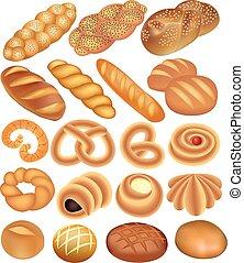blanco, conjunto, pan trigo