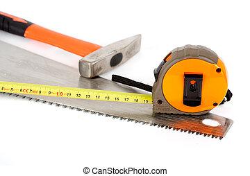 blanco, construcción, herramientas, aislado, plano de fondo