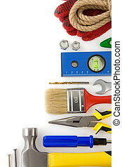 blanco, construcción, herramientas, aislado