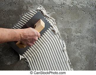 blanco, construcción, mellado, paleta, cemento