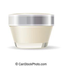blanco, contenedor, aislado, plano de fondo, crema
