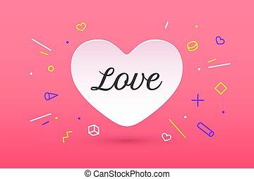 blanco, corazón de papel, con, letras, amor