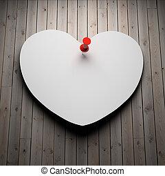 blanco, corazón de papel, en, madera