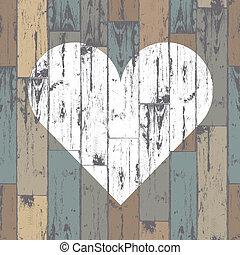 blanco, corazón, en, de madera, fondo., vector, eps10