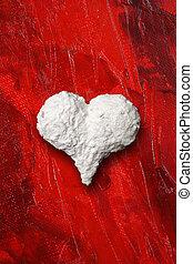 blanco, corazón, en, fondo rojo
