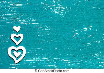 blanco, corazones, en, un, de madera, plano de fondo