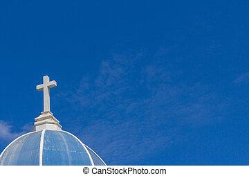 blanco, cruz, en, cielo azul