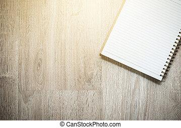 blanco, cuaderno, en, madera, plano de fondo