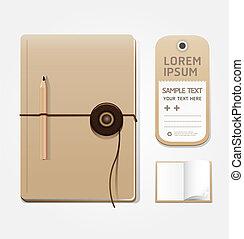 blanco, cuaderno, openpage, con, etiqueta, plantilla, para,...
