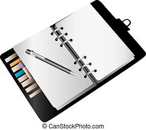 blanco, cuaderno, planificador