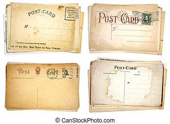 blanco, cuatro, postales, pilas, vendimia