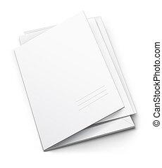 blanco, cubierta, carpeta, titular, blanco