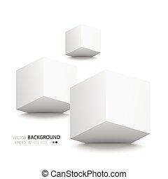blanco, cubos, aislado, blanco, fondo.