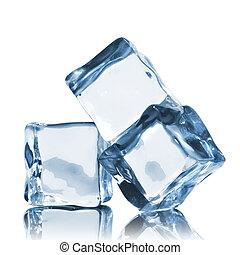 blanco, cubos, aislado, hielo