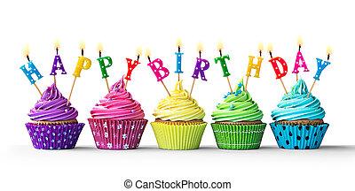 blanco, cumpleaños, cupcakes, colorido