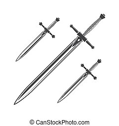 blanco, daga, icono, equipo, aislado, caballero, cuchillo, fondo., vector, espada, ilustración, silhouette.