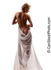 blanco, desnudo, bata, mujer