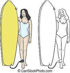 blanco, dibujado, mano, bosquejo, traje, el estar parado para arriba, mujer, plano de fondo, garabato, ilustración, aislado, amarillo, líneas, vector, tabla, azul, natación, negro, oleaje