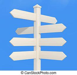 blanco, direccional, poste, señal