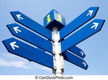blanco, direccional, señales carretera