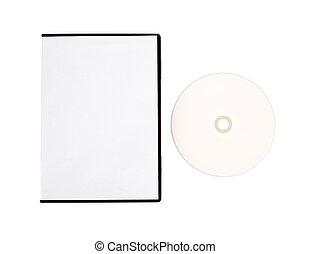 blanco, disco compacto, simulado, arriba