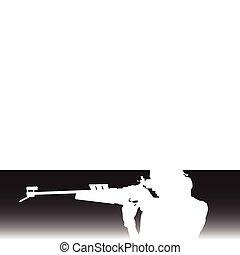 blanco, disparando, ilustración