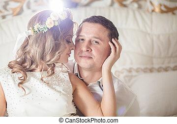 blanco, dormitorio, boda, novio