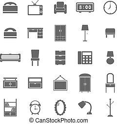 blanco, dormitorio, plano de fondo, iconos